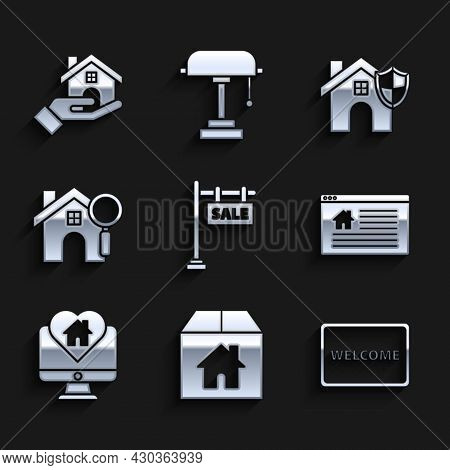 Set Hanging Sign With Text Sale, Cardboard Box House, Doormat The Welcome, Online, Monitor Heart Sha
