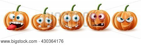 Halloween Pumpkins Vector Set. Halloween Pumpkin Character In Funny, Happy And Scary Facial Expressi