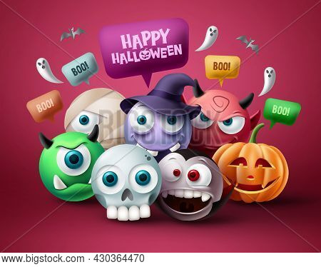 Halloween Character Vector Design. Happy Halloween Text In Speech Bubble Element With Scary, Spooky,