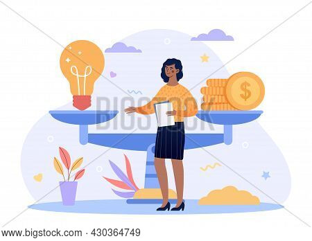 Investment And Startup Valuation Concept. Business Woman Stands Next To Scale And Learns Cost Of Ide