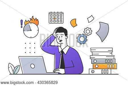 Stress In Office Concept. Tired Secretary Sitting At His Desk And Working With Documents On Laptop.