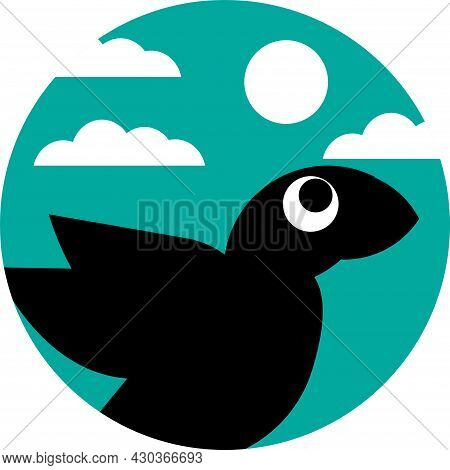 Black Bird Vector Illustration With White Clouds On A Simple Blue Background, Great For Logos And Ic