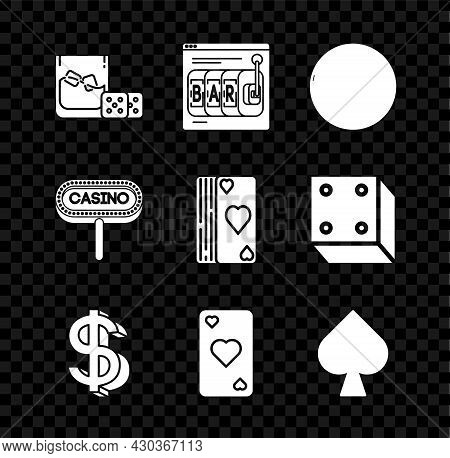 Set Game Dice And Glass Of Whiskey With Ice Cubes, Online Slot Machine, Casino Roulette Wheel, Dolla