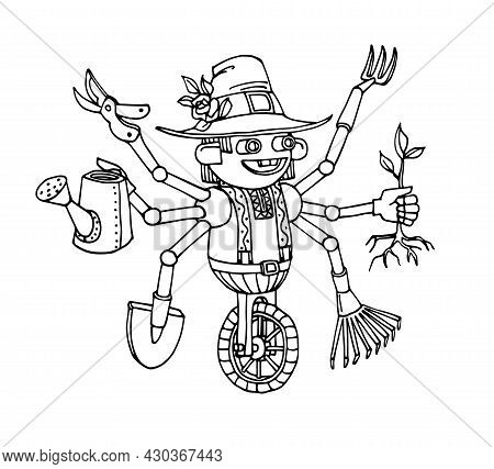Cute Multi-armed Garden Robot With A Set Of Tools, Funny Character, Mechanical Gnome, Vector Illustr