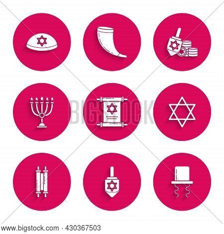 Set Torah Scroll, Hanukkah Dreidel, Orthodox Jewish Hat With Sidelocks, Star Of David, Menorah, And