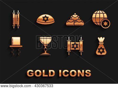 Set Jewish Goblet, World Globe And Israel, Money Bag With Star Of David, Torah Scroll, Orthodox Jewi
