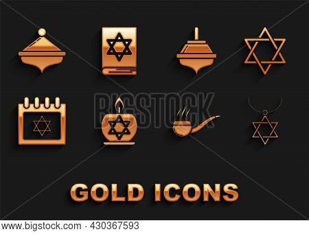 Set Burning Candle In Candlestick With Star Of David, Star David, Necklace On Chain, Smoking Pipe Sm