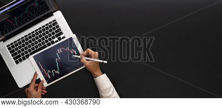 Screen Sell. Investment Business Technology App On Digital Screen. Finance Application For Sell, Buy