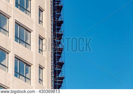 Modern Facade Steel Cladding Architectural Elements Detail. Exterior Architectural Detail Facade Bui