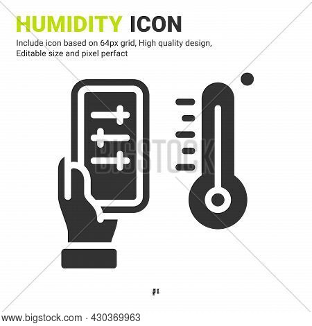 Humidity Icon Vector With Glyph Style Isolated On White Background. Vector Illustration Dampness Sig