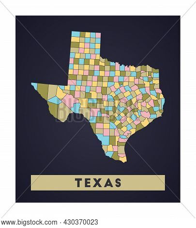 Texas Map. Us State Poster With Regions. Shape Of Texas With Us State Name. Vibrant Vector Illustrat