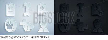 Set Veterinary Clinic Symbol, Clipboard With Medical Clinical Record Pet, Paw Print, Map Pointer Vet