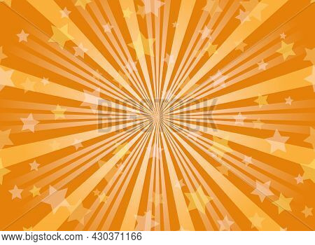 Sunlight Horizontal Background. Orange Color Burst Background With Shining Stars. Vector Illustratio