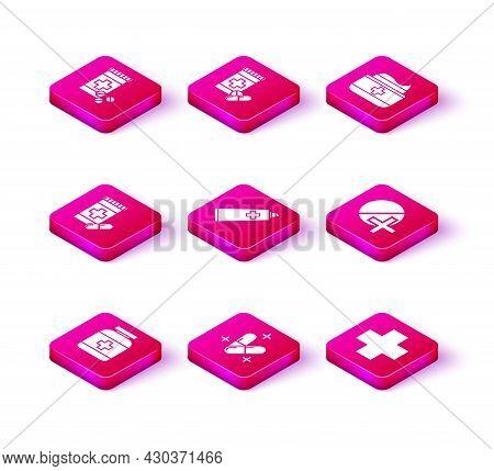 Set Medicine Bottle, Pill Or Tablet, And Pills, Ointment Cream Tube Medicine, Cross Hospital Medical