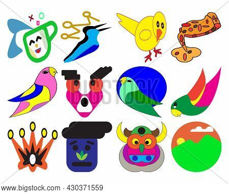 Vector Illustration Of Colorful Bird, Food And Nature Icon Set. Great For Children's Book Covers, Ch