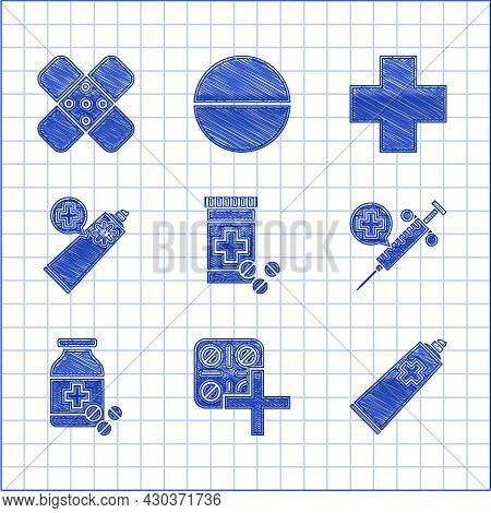 Set Medicine Bottle And Pills, Pills Blister Pack, Ointment Cream Tube Medicine, Medical Syringe Wit