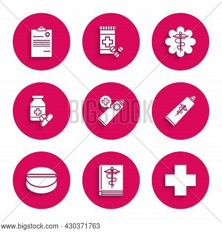 Set Ointment Cream Tube Medicine, Cross Hospital Medical, Medicine Pill Or Tablet, Bottle And Pills,