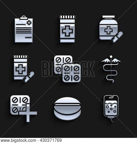 Set Pills In Blister Pack, Medicine Pill Or Tablet, Iv Bag, Caduceus Snake Medical Symbol, Bottle An