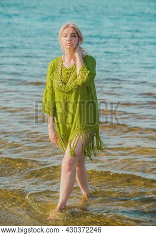 Beautiful Plus Size Woman In Khaki Linen Dress Rest At Nature, Concept Of Woman\'s Fashion. Lady Xl