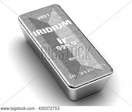 The Highest Standard Iridium Bar. One Ingot Of 999.9 Fine Iridium Bar On White Background. 3d Illust