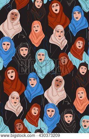 Muslim Diversity Women In Hijab, Young Arab Girl In Color Headscarf.  Woman Portrait In Tradiotion I
