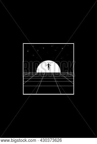 Retrowave T-shirt And Apparel Design With Perspective Grid, Sun In The Horizon, Levitate Man Silhoue