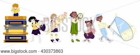 Back To School. Set Of Different Schoolgirl And Schoolboy. Group Of Pupils Read The Book, Holding Ba