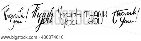 Set Of Various Thank You Handwriting Slogan . Hand Drawn Collection Lettering Thank You. Vector Illu
