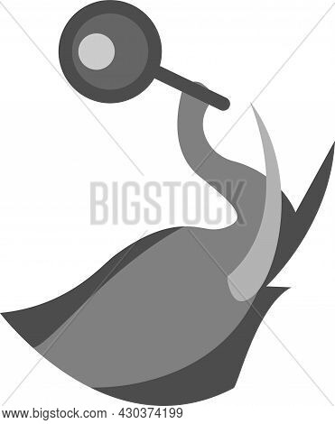 Elephant Head Vector Illustration With Trunk Carrying A Magnifying Glass, Great For Logos And Animal