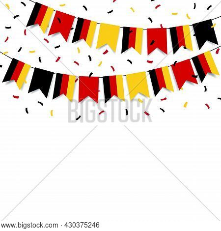 Vector Illustration Of German Unity Day. Garland With The Flag Of Germany On A White Background.