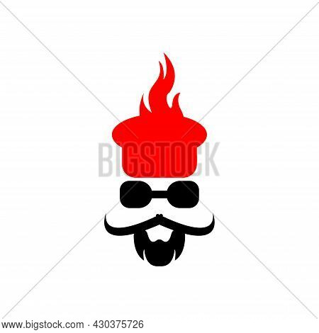 Vector Illustration Of A Face Of A Man With A Mustache And Glasses Wearing A Chef's Hat, Great For R