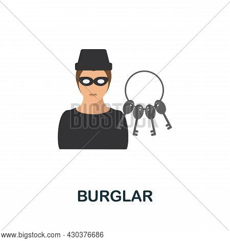 Burglar Flat Icon. Colored Sign From Home Security Collection. Creative Burglar Icon Illustration Fo