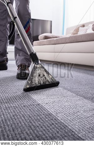 Carpet Cleaning Janitor Service. Industrial Vacuum Cleaner