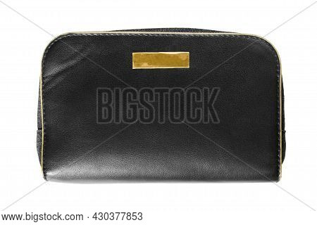 Black Leather Pouch Bag Isolated Over White