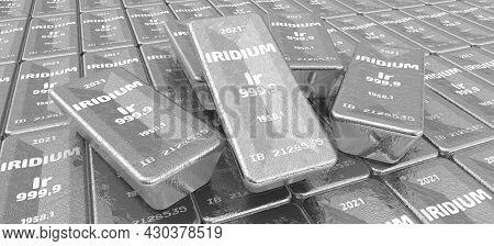 Iridium. Ingots Of The Highest Standard. There Are Many Ingots Of 999.9 Fine Iridium Bars. 3d Illust