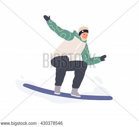 Happy Man Standing On Snowboard. Excited Smiling Snowboarder Riding Snow Board. Extreme Winter Sport