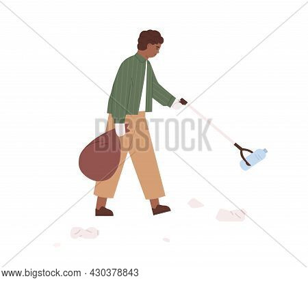 Child Picking Up Plastic Garbage With Litter Stick. Kid Collecting Rubbish Into Trash Bag. Eco Volun