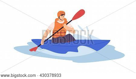 Man In Solo Canoe Rowing With Paddle On Water. Person In Helmet And Life Vest Riding Boat With Oar O