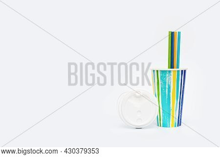 Take Away Colored Paper Coffee Cup And Paper Drinking Straws On Light White Background With Copy Cpa