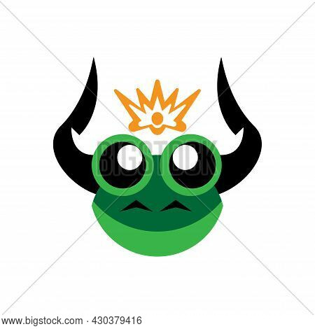 Vector Illustration Of A Green Black Horned Frog Head With A Gold Crown On Top, Great For Logos And
