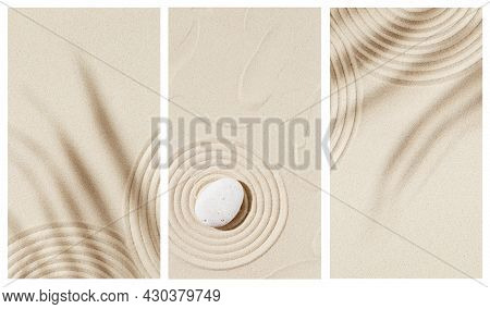 Zen Garden Meditation Sandy Background For Relaxation. Lines Drawing In Sand And Shadows Of Palm Lea