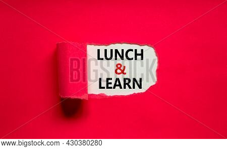 Lunch And Learn Symbol. Words 'lunch And Learn' Appearing Behind Torn Purple Paper. Beautiful Purple
