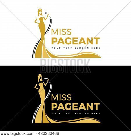 Miss Pageant Logo - Yellow Gold And Black The Beauty Queen Pageant In Long Evening Gown Wearing A Cr