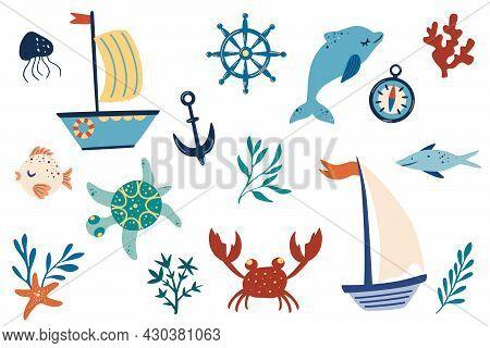 Marine Items Set. Ships, Dolphins, Algae, Fish, Crabs, Anchor. Hand Draw Marine Decorative Vector Il