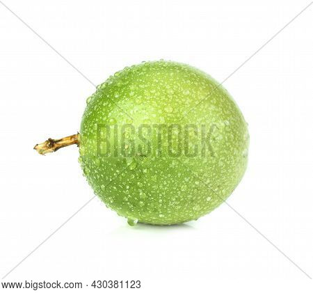 Fresh Passion Fruit With Water Drop Isolated On White Background