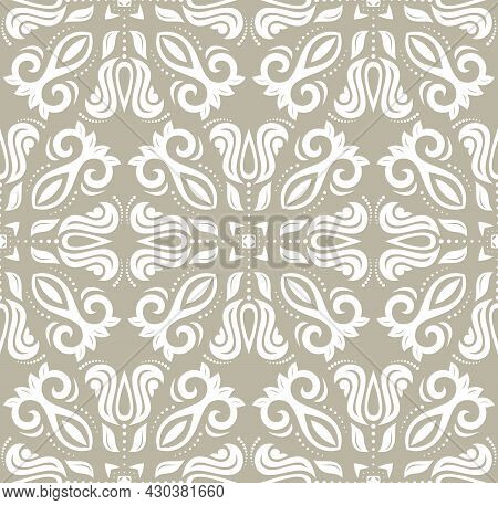Classic Seamless Vector Beige And White Pattern. Damask Orient Ornament. Classic Vintage Background.