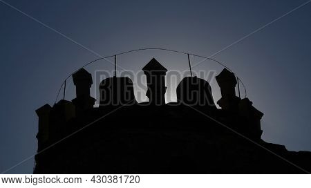 Ruin Of Boskovice Castle In The Czech Republic. Silhouette Of A Tower Of Boskovice Castle