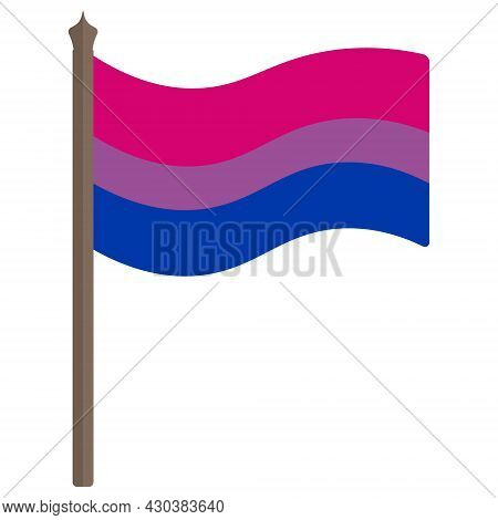 Bisexual Pride Flag. A Tricolor Fabric Develops In The Wind. Colored Vector Illustration. Isolated W