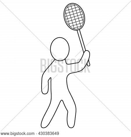 Badminton. The Player Is Holding A Racket In His Hands, Preparing To Hit The Shuttlecock. Sketch. Ve