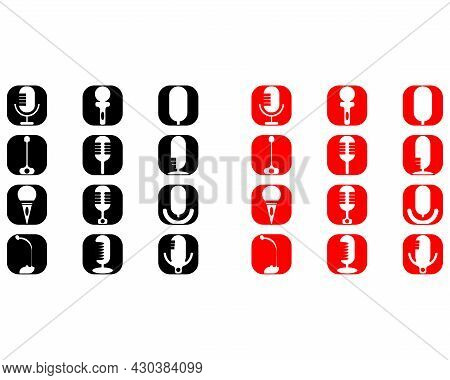 Vector Illustration Of Microphone Icon, Red And Black Background Color. Great For Tech Communication